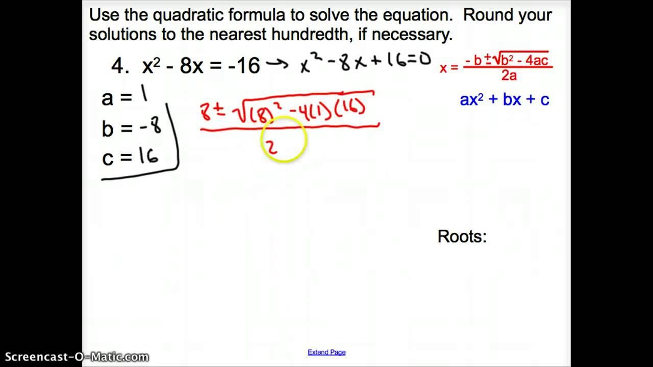 4.6 The Quadratic Formula and the Discriminant - YouTube
