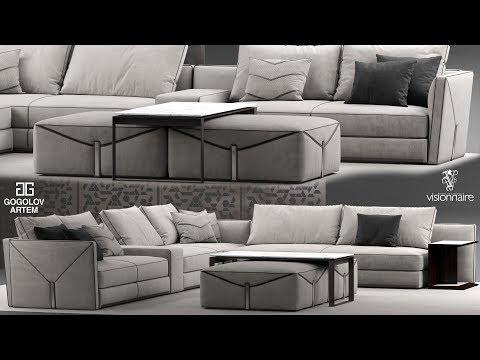 "№33. Sofa Modeling ""Visionnaire Bastian"" в 3d Max и Marvelous Designer."