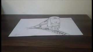 how to draw 3d train