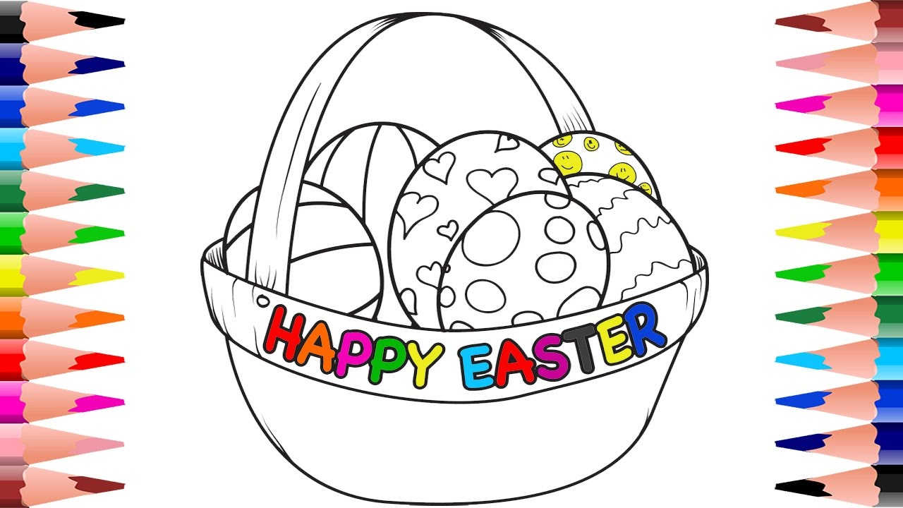 painting easter eggs coloring pages for kids happy easter