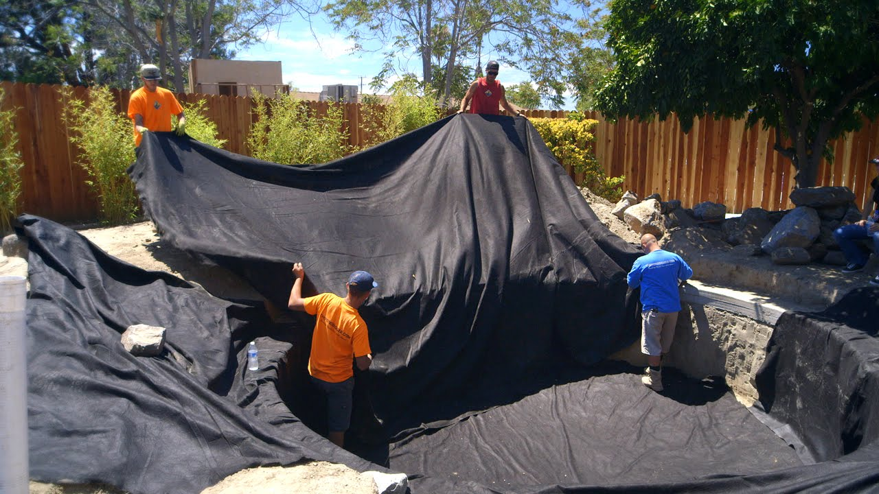 Koi pond construction pond liner preparation part 24 for Koi pond liner