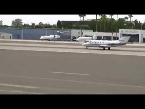 Travel Management Co Beechcraft Beechjet taking off from Santa Monica airport
