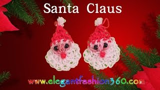 Rainbow Loom Santa Claus 2D Charms- How to Loom Bands Tutorial/Christmas/Holiday/Ornaments