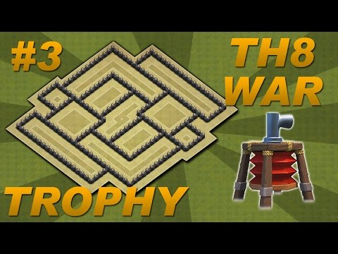 BEST Town Hall 8 (TH8) Trophy/War Base Design -Air Sweeper + 4 Mortars (Clash of Clans) Setup #3