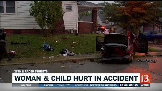 Woman and child hurt in accident