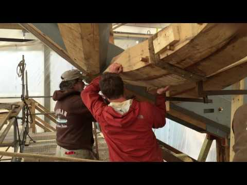Ernestina-Morrissey - Using gin pole to lift frame into place : Part 2