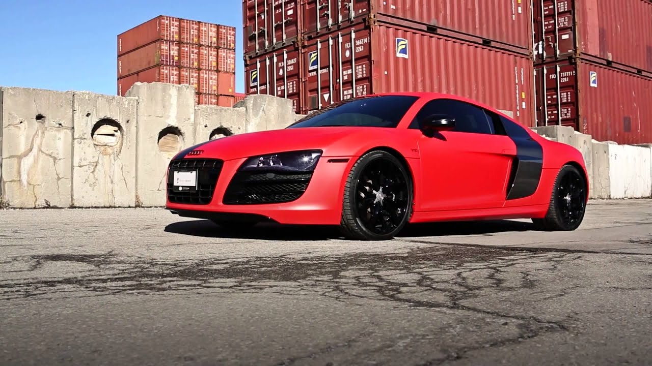 frozen red audi r8 + sekanskin - youtube