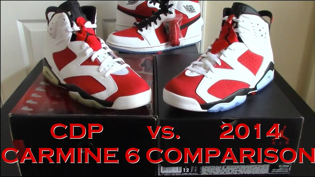 brand new 4c8fd 1e893 Comparison   Jordan 6 Carmine   2008 Countdown Pack vs. 2014 Release