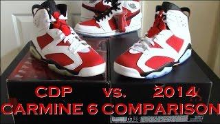 Comparison / Jordan 6 Carmine : 2008 Countdown Pack vs. 2014 Release