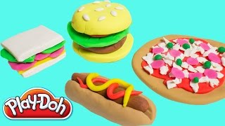 Play-doh Lunchtime Creations Playset Play Dough Pizza Burger Sandwich Hot Dog Toy Food