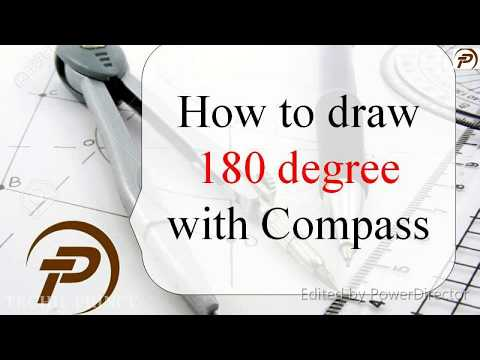 How to draw 180 degree with compass