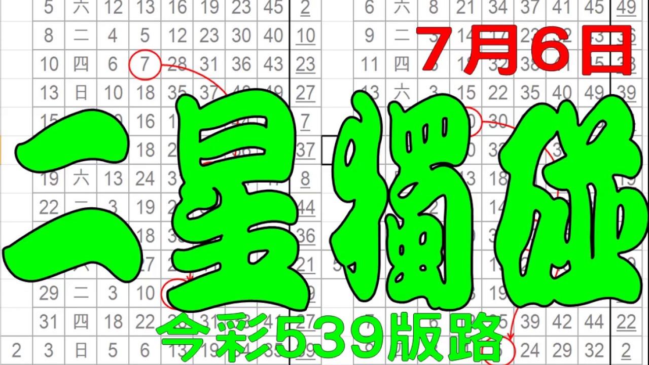 【神算539】 7月6日 今彩539版路 二星獨碰 超準單碰版路 私有版路流出