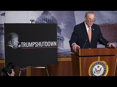 'In a few hours the government will reopen,' says Chuck Schumer in Senate speech