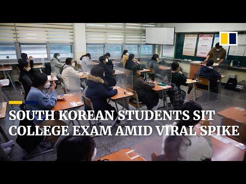 Coronavirus: South Korea students take university entrance test despite Covid-19 resurgence