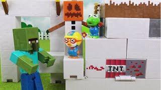 마인크래프트 좀비의 분노! 마인크래프트 레드스톤을 찾아라 ❤ 뽀로로 장난감 애니 ❤ Pororo Toy Video | 토이컴 Toycom