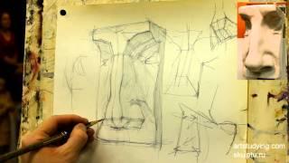 Обучение рисунку. Портрет. 22 серия: нос