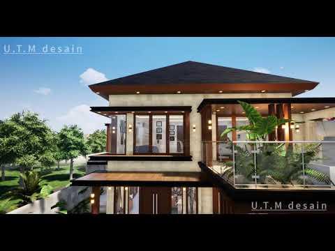 desain rumah minimalis modern tropis 2 lantai batu alam