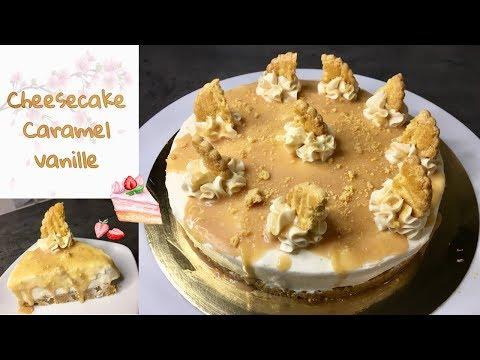 cheesecake-vanille|caramel-beurre-salé-sans-cuisson-😋