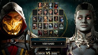 Mortal Kombat 11 Sindel Vs Scorpion Gameplay Very Hard Difficulty MK11