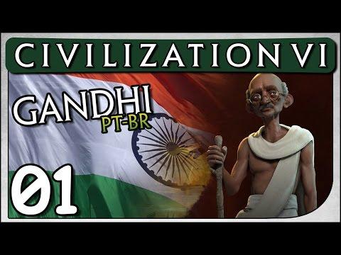 """Civilization 6 Gandhi #01 """"Artefatos Religiosos"""" - Vamos Jogar / Gameplay Português PT-BR"""