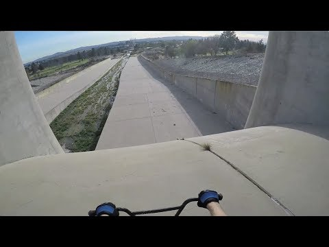 RIDING DOWN A HUGE DAM BRAKELESS! Hansen Dam, CA