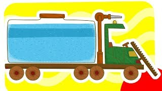 Car Toons water truck. Vehicles for kids.