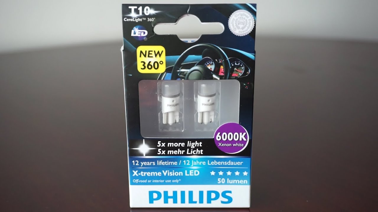 philips x tremevision led t10 w5w 6000k youtube. Black Bedroom Furniture Sets. Home Design Ideas