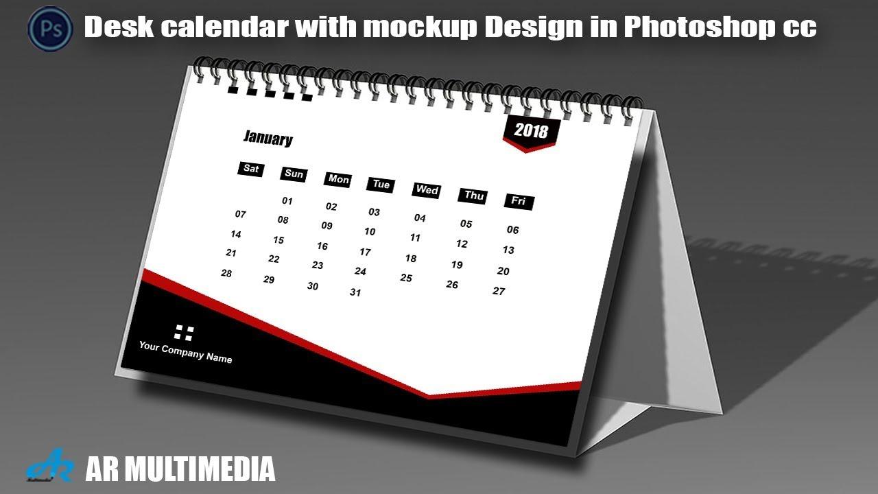 Calendar Typography Zenfolio : Desk calendar in photoshop cc with mockup design