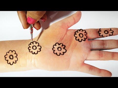New Mehndi Trick For Flowers - Latest Mehndi Design 2019 for Hands - तीज त्यौहार के लिए आसान मेहँदी