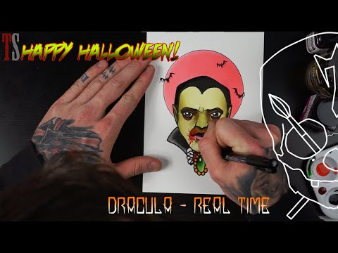 Dracula Paint and Draw Halloween! Tattoo Flash watercolour Ink Ilustration