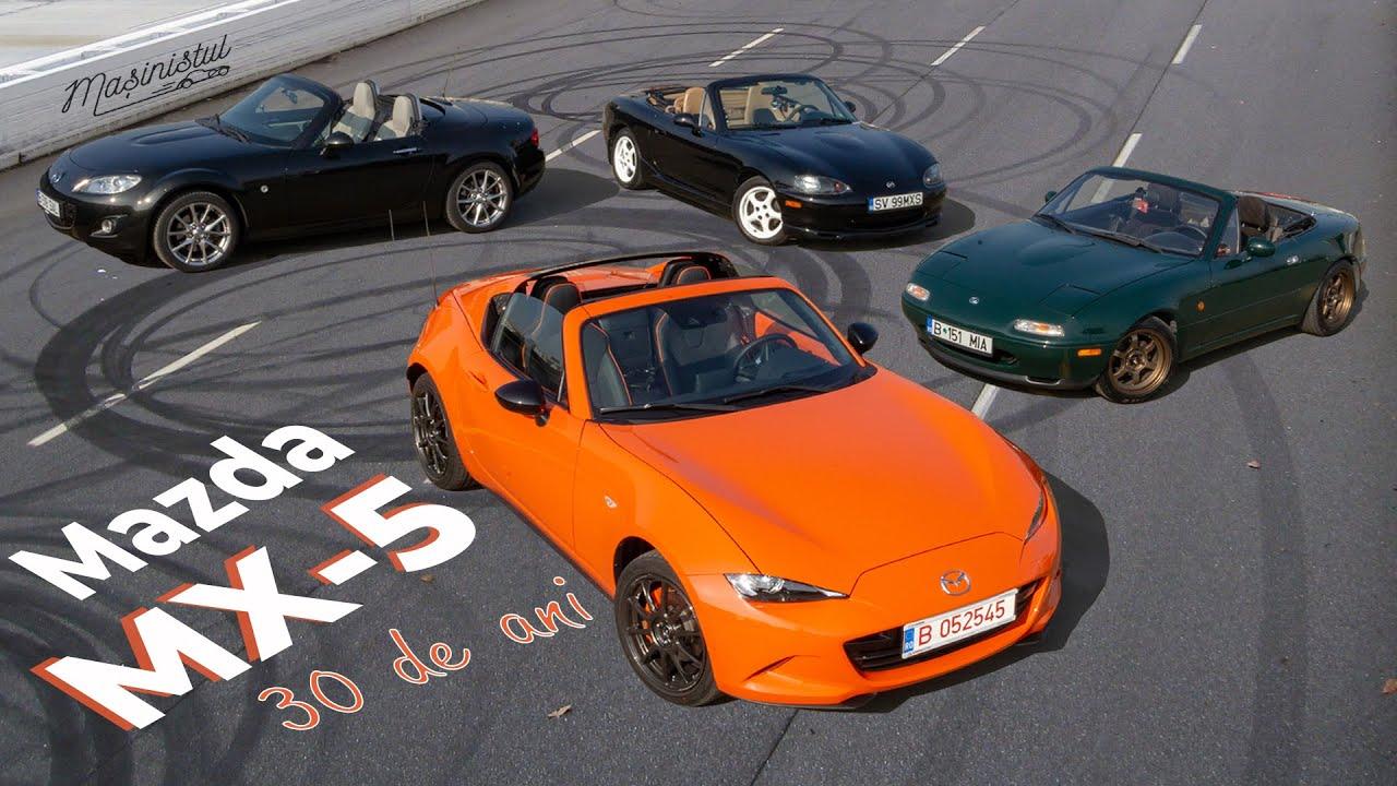 30 de ani de Mazda MX-5: Bucuria lăsată moștenire | Test cu toate generațiile | Poveștile MX5.ro