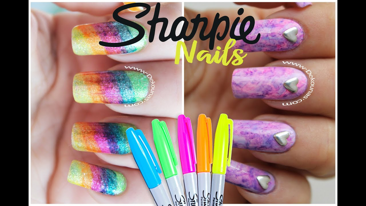 Decoracion de uñas con marcadores FACIL - Sharpie nail art - YouTube