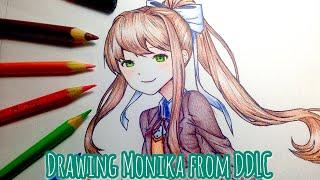 Drawing Monika from Doki Doki Literature Club (Speed Art)