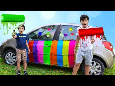 We paint Daddy's car - funny videos for kids ,les boys tv