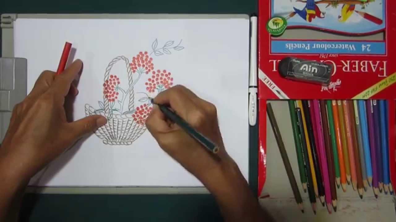 Simple Flower Basket Drawing : Flower basket drawing easy tutorials