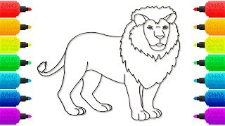 How to Draw Lion Animals Coloring Book Page