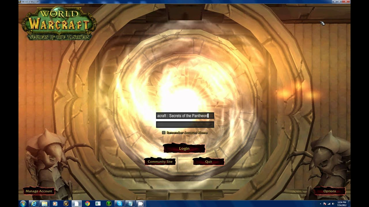 world of warcraft the secrets of the pantheon server login