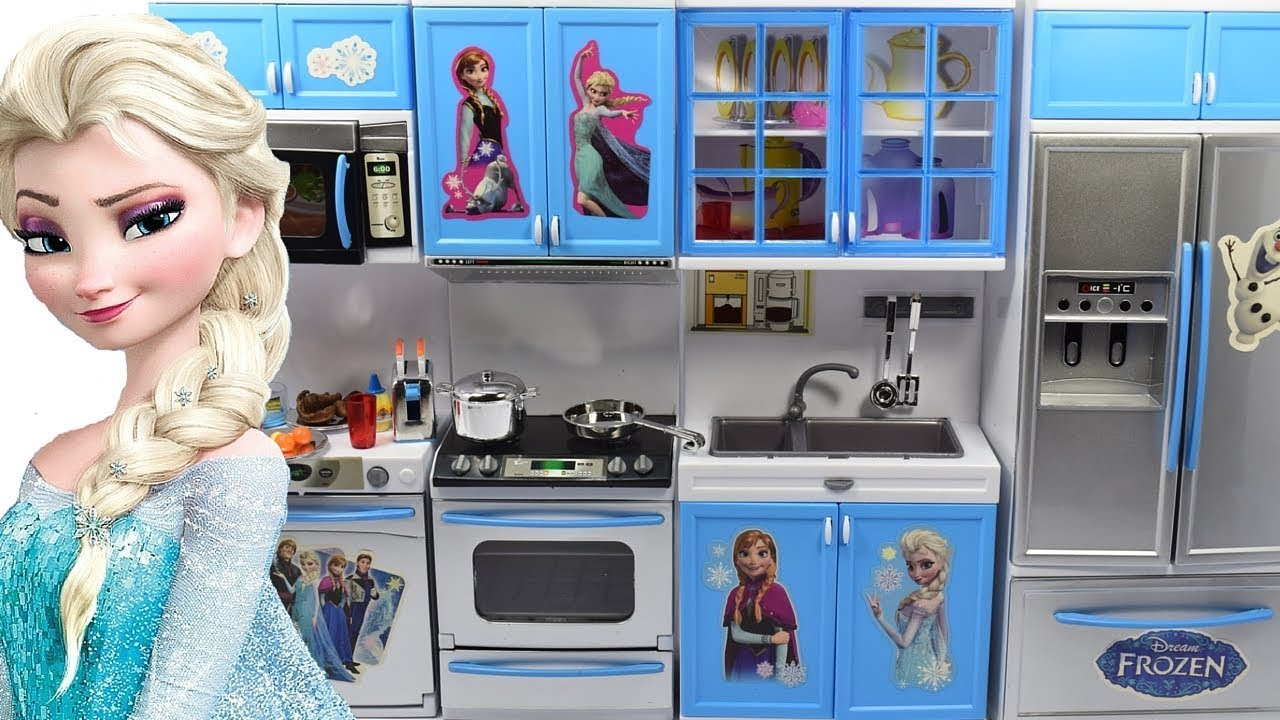 Barbie Doll Kitchen Set Up Real Cooking Refrigerator Toy Youtube