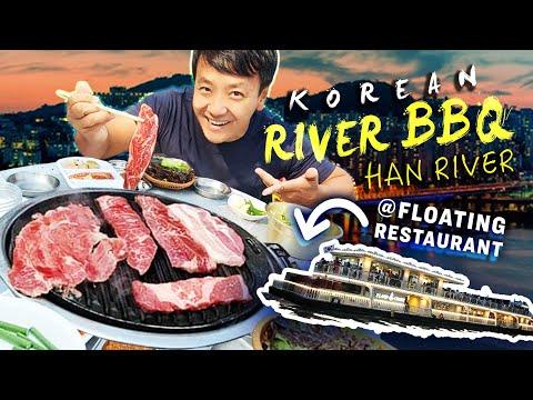 Korean RIVER BBQ on FLOATING RESTAURANT & GIANT Bulgogi MEAT MOUNTAIN