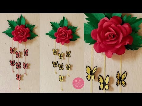 EASY BEAUTIFUL PAPER ROSE AND BUTTERFLY WALL HANGING   ROSE WALL DECOR   DIY BUTTERFLY