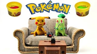 Pokémon Battle Stop Motion Play Doh Pikachu Animación Chikorita Plastilina de Juguetes
