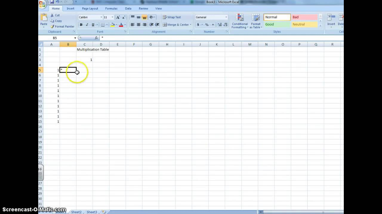 Multiplication Table Excel Youtube