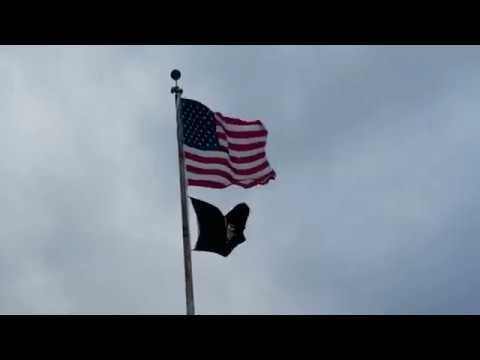American Flag Flying Over Frankfort MI on Lake Michigan
