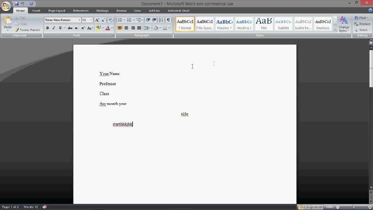 mla header in word