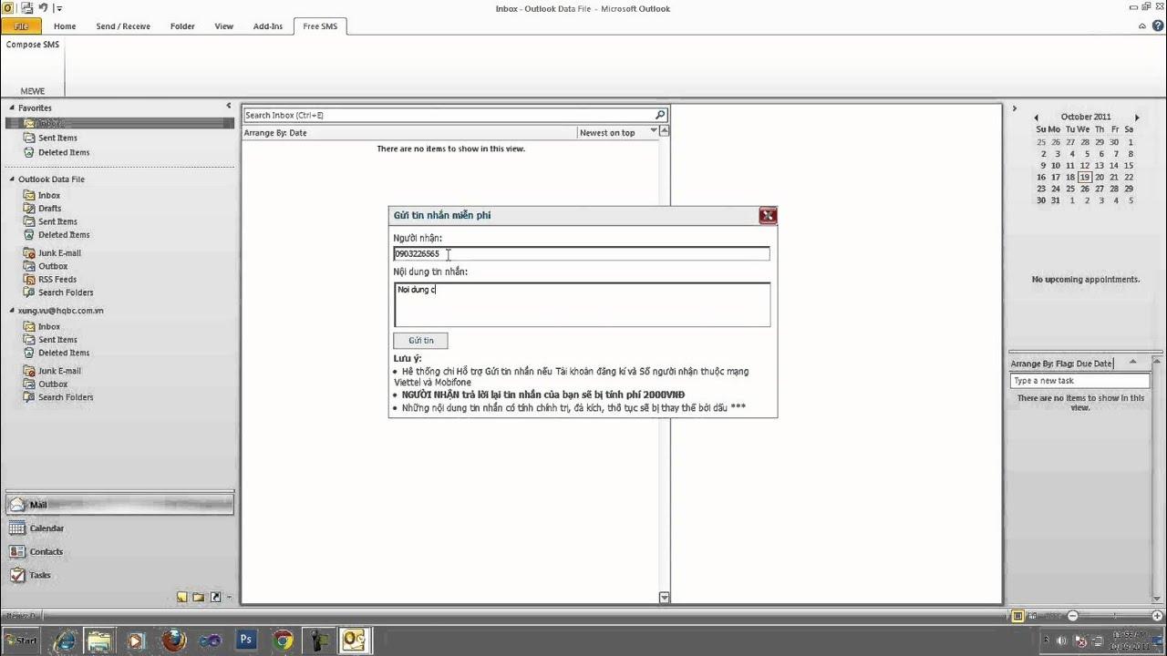 Gửi tin nhắn miễn phí từ Outlook 2010 tới điện thoại
