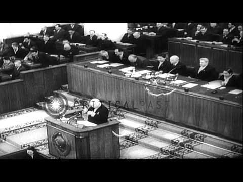 Soviet Premier Nikita Khrushchev addresses the Soviet Presidium in Moscow, Soviet...HD Stock Footage