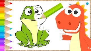 Learn with EDDIE how to Draw and Color Animals 🐸🐥🐷 Eddie the dinosaur coloring animals