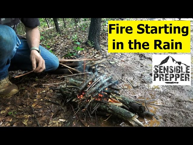 Fire Starting in the Rain and in Wet Weather