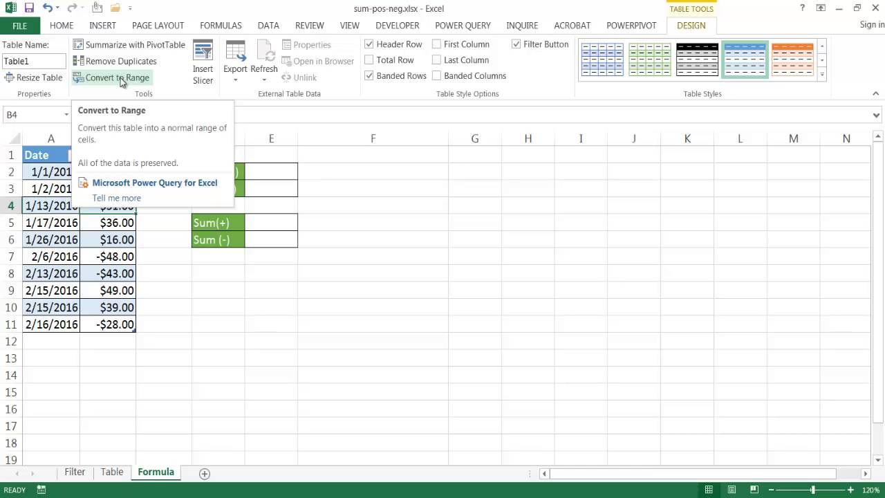 How to make an excel column negative - Sum Up Only Positive Or Negative Values In A Range