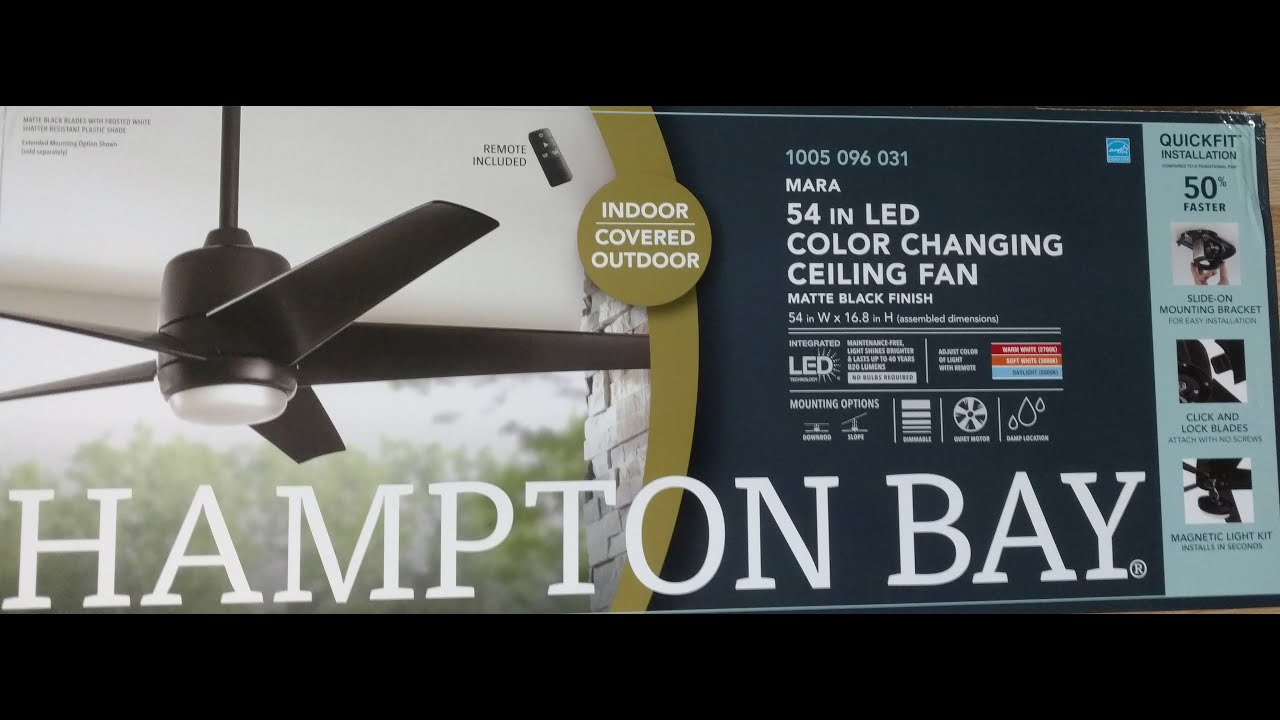 Hampton Bay Remote Controlled Indoor Covered Outdoor Mara Led Color Changing Ceiling Fan Youtube